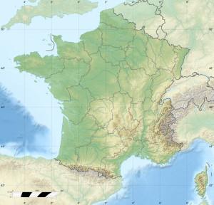 Franciaország domborzati térképe