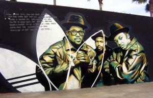 a Run DMC-t ábrázoló graffiti