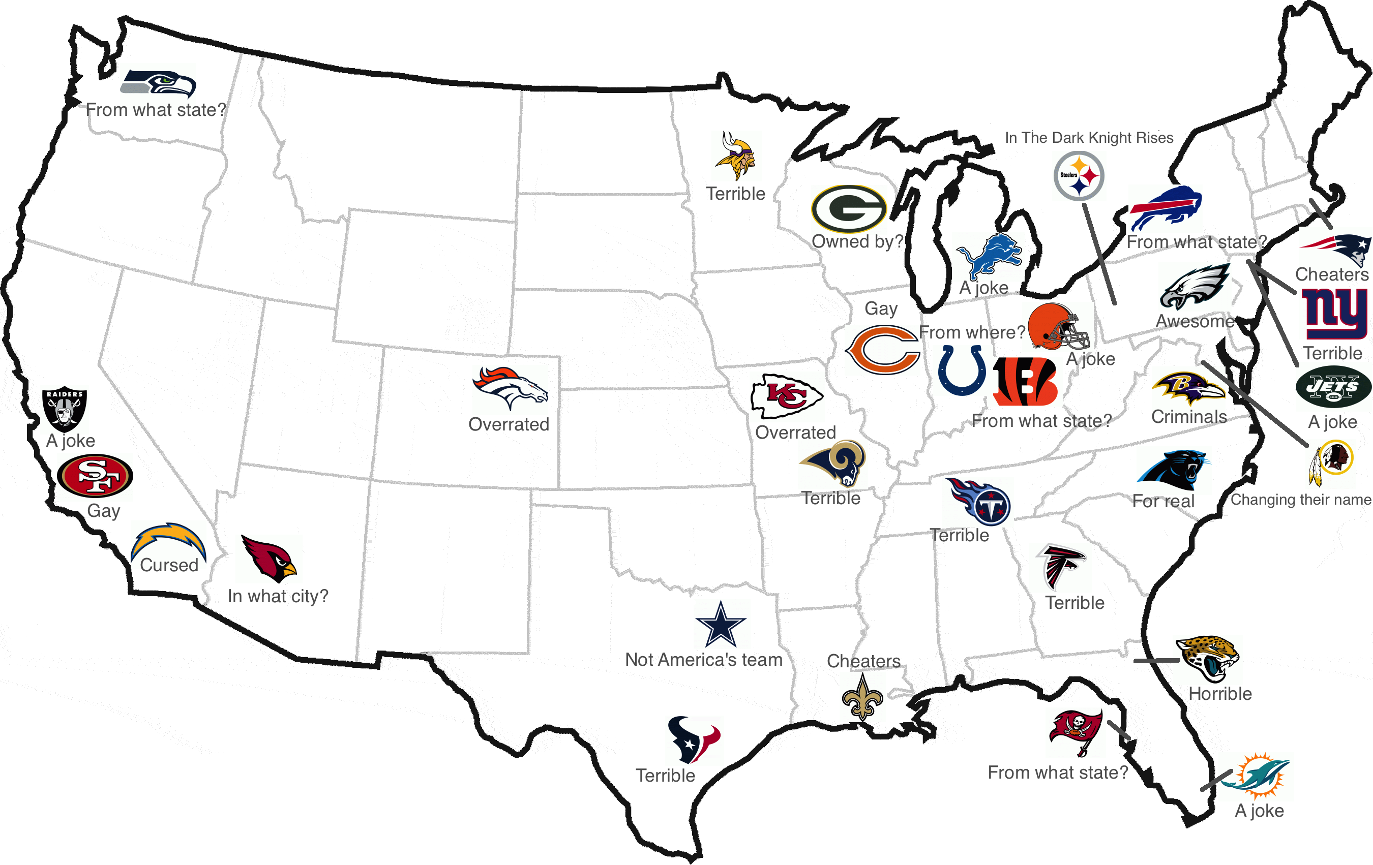 Nfl team map sports pinterest football stadiums and nfl football nfl map northeast map la plata maps us map nfl teams sciox Choice Image