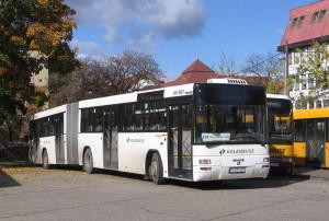 Bakony Volán csuklós busz a helyközi járatból