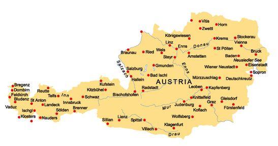 ausztria városai térkép Ausztria   FK Tudás ausztria városai térkép
